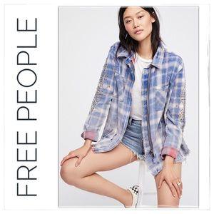 Free People Deconstructed Plaid Shirt Jacket